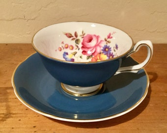Vintage Royal Grafton Bone China Blue Grey with Floral Tea Cup and Saucer 1950's