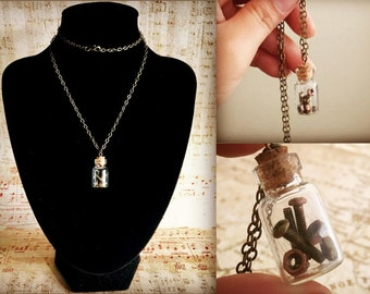 Steampunk Screws and Bolts Necklace - Steampunk Bottle Necklace - Steampunk Vial Jewelry - Robot Necklace - Steampunk Robot Jewelry Necklace