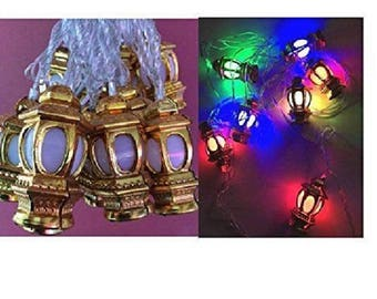 Ramadan & Eid Home Decoration MultiColor Fanoos Golden Lantern String light LED