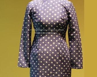 Digital Cheongsam Pattern, long sleeves , Mandarin collar, Slanting Jin,high slits , lining,Size XXS~XXXL