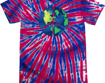 Men's Peace Shirt Blue Earth Patriotic Tie Dye Tee T-Shirt BLUEEARTH-1000P