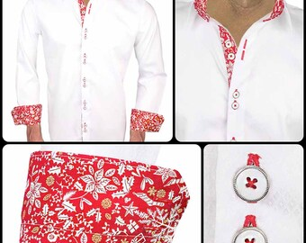 White and Red Christmas Dress Shirts - Made in the USA