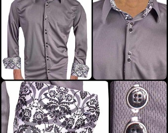 Gray with White Damask Moisture Wicking Dress Shirt - Made in USA