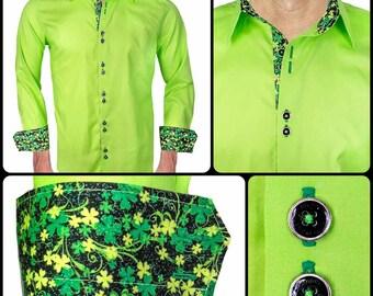 Light Green St Patrick's Day Men's Designer Dress Shirt - Made To Order in USA