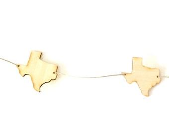 Bamboo Texas Garland, Christmas Tree Garland, Nursery Decor, Texas Gift, Texas Love, State Garland, Custom Decor. Wood Nursery Garland