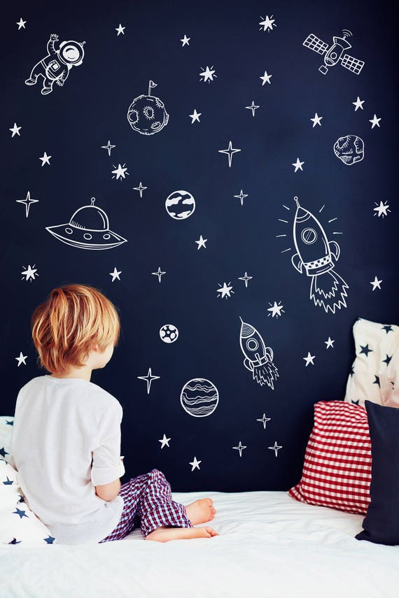 Space wall decals outer space nursery decor rocket ship for Outer space childrens decor