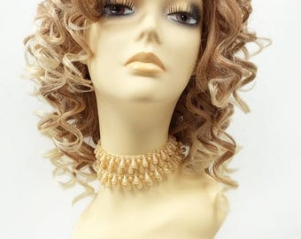 13 Inch Lace Front Light Strawberry Blonde w/ Light Blonde Tip Curly Wig. Heat Resistant Spiral Curls Synthetic Wig [76-394-Molly-T613/27]