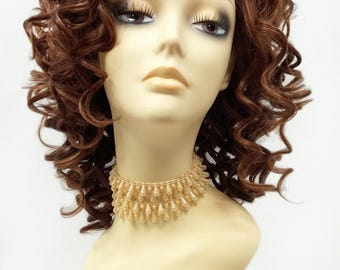 13 Inch Lace Front Auburn with Copper Highlights Curly Wig. Heat Resistant Spiral Curls Synthetic Fashion Wig [76-396-Molly-27/30/33]