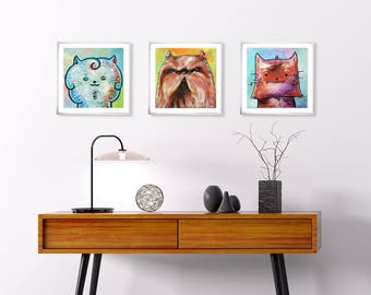 Set of 3 cat art prints, cute cat painting for nursery, whimsical cat painting, colorful kitty art, whimsical cat art, cute cat illustration