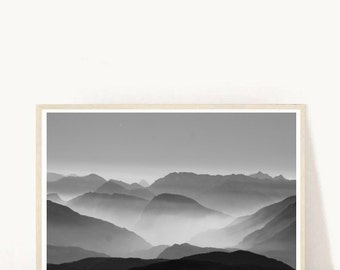 Mountain Photography, Printable Art, Misty Mountains, Nature Photo, Landscape Print, Wall Decor, Instant Download, Black and White