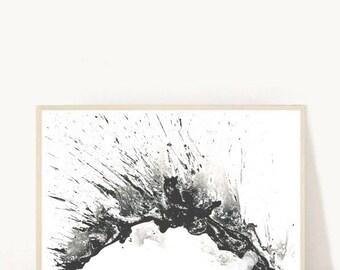 Watercolor Abstract, Printable Art, Black Ink Abstract, Abstract Art Print,  Instant Download,  Wall Art, Home Decor, Wall Decor