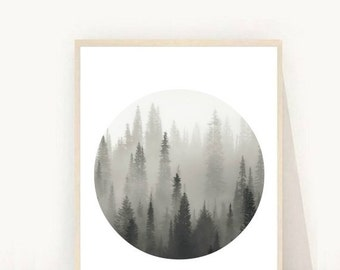 Minimalist Print, Forest Art Print, Forest Photo, Scandi Decor,  Printable Art, Black and White Photo, Scandinavian Print, Instant Download