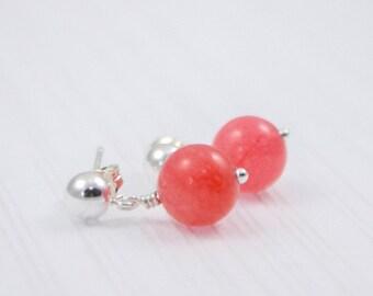 Pink jade earrings, pink gemstone earrings, sterling silver drop earrings, dainty earring, semi precious gemstone, jewelry set, gift for her