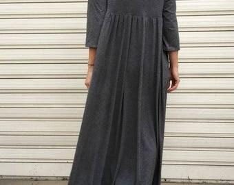 """Grey Oversized Maxi Dress / Women Long Cotton Dress / Oversize Grey Dress / Loose Maxi Caftan - """"FF Candy"""""""