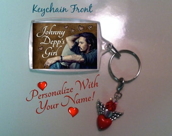 Johnny Depp Keychain, Personalized Keychain, Johnny Depp's Girl, Personalized With Your Name, Winged Heart Charm Keychain, Actor Johnny Depp