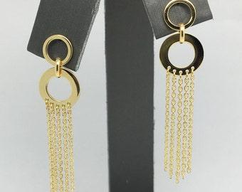 14K Yellow Gold Multi-Strands Dangling Earrings