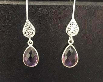 Amethyst Earrings February Birthstone Earrings lAmethyst Teardrop Earrings Amethyst Sterling Amethyst Earrings Gemstone Earrings
