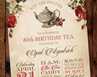 Tea Birthday Invitation, Vintage Tea Party Invitation, Floral Tea Invitation, Woman Birthday Invite, Tea Party Birthday Invitation #002