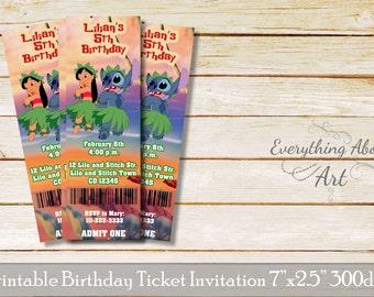 Lilo and Stitch ticket invitation, Lilo and Stitch birthday invitation, Lilo and Stitch theme, Printable ticket invitation, Lilo Stitch