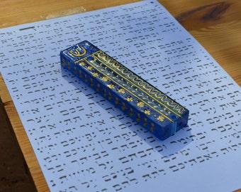 Aqua blue and Green Mezuzah, Handpainted Custom Mezuzah case, Jewish Mezuzah