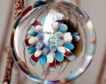 Sea Anemone Heady Pendant Blown Glass Necklace Sea Ocean Artisan Jewelry One of A Kind Implosion Pendant Tribal Hippie Boho Gift