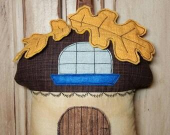 Tooth Fairy House Pillow Kids Room Decor, Woodland Acorn