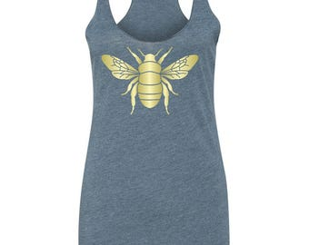 Entomological Interest Bumble Bee Design on Ladies Triblend Tees and Tanks