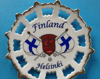 Helsinki Finland Souvenir Wall Decor~Finland Crest~Finland Flag~Made by Lappituote Handmade Items~Perfect Conditon~Finland~Helsinki~Plaque~