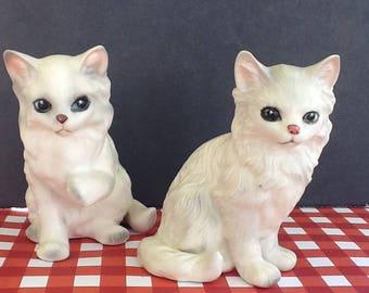 2 Vintage Lefton China Persian White Cats~ Original Labels~1970s Era~Vintage Figurines~Cat Collectors~Cat Statues~Cat Lovers~Pristine Cond~