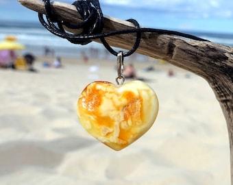 Baltic Amber Heart Pendant, Heart Pendant, Heart Necklace, Baltic Amber Jewelry, White Butterscotch Amber Heart