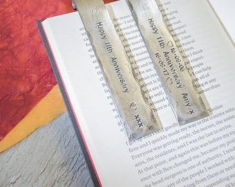 STEEL ANNIVERSARY BOOKMARK//personalised steel Bookmark/keepsake for 11 years/steel gift for husband/gift for wife/engraved book lovers gift
