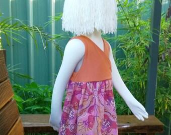 girls t-shirt dress, girls sleeveless tee shirt dress, Aboriginal art dress, girls dresses, every day dress, Australiana dress