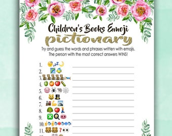 Baby Shower Game Pictionary - EMOJI Pictionary - Children's Books - Instant Printable Digital Download - diy Baby Shower Printables