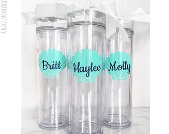 4 Custom skinny tumblers, personalized cups, bridal shower gift, wedding cup, wedding favors, seashell cups, mermaid cups, cup set