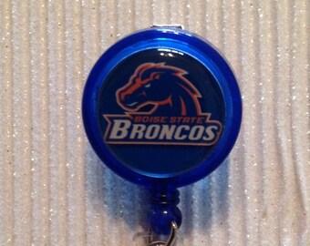 Boise Broncos Badge Id Reel holder lanyard inspired Designer Crystals or Regular Alligator Clip college university blue orange handmade new