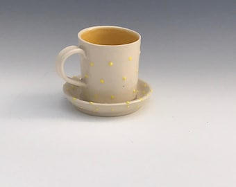 Handmade Porcelain Espresso Cups - White and Yellow Espresso Cup - Pottery Espresso Cups - Ceramic Espresso Cups - Ready to Ship