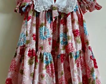 Little Girls  Vintage Dress, Vintage Lace Dress, Junior Dresses, Children's Vintage Dresses, Children's Clothing, Rustic lace Toddler Dress,