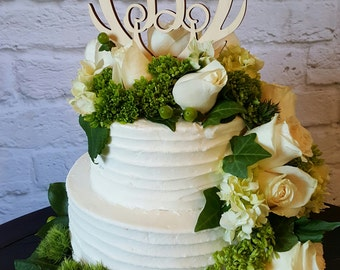 Antler Cake Topper - UNPAINTED Wooden Monogram Cake Topper - Wedding Cake Topper - Birthday Cake Topper