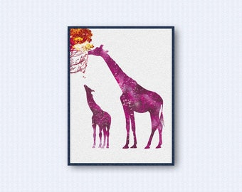 Giraffe Watercolor Poster 2