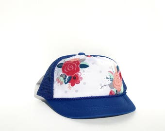 Grey Floral on Royal Blue Baby Trucker Hat