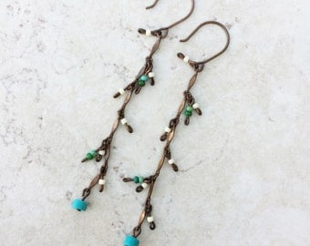 Turquoise Beaded Earrings on Antiqued Copper >> Natural Stone Jewelry >> Southwestern Earrings >> Glass Beads >> Gifts For Her >> Bohemian