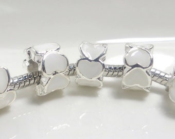 2pcs- enamel European beads 10x6mm - silver plated - platinum color - white hearts - hole 4.5mm