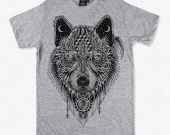 Grey Wolf Totem T-shirt - Organic Cotton Spirit Animal, Native american guide.