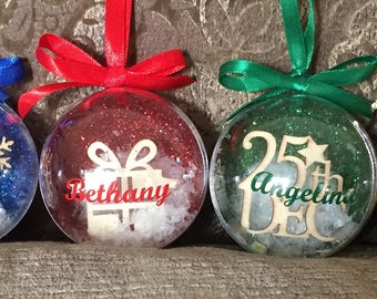 Personalised Glittered Christmas Tree Baubles