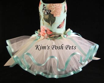 Dog Dress _  Floral Hydrangea & Birds Dog Tutu Dress _ Summer _ Kim's Posh Pets
