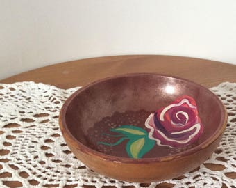 Floral wooden Bowl - empty Pocket - painted recycled Bowl - Tote