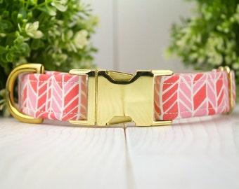 Pink Herringbone adjustable Dog Collar w/ Metal Buckle