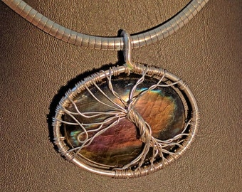 Purple, multi colored, labradorite, tree of life, wrapped, using fine silver.