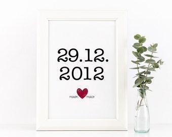Wedding Date Art Custom Printable | Custom Anniversary Date Print Art | Printable & Customizable