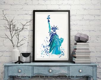 Statue of Liberty Original Watercolor Painting, New York Illustration, Travel Illustrator, Modern Wall art, Home Decor, Holiday Gift.